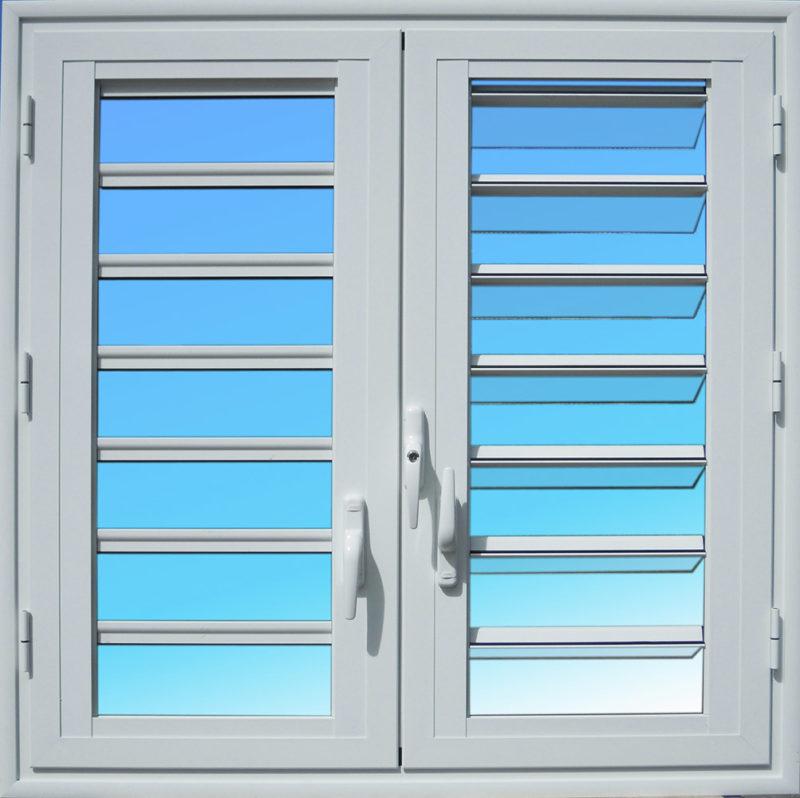 Fenêtre aluminium OF25 deux vantaux avec jalousies 7 lames de verre MG ALUMINIUM