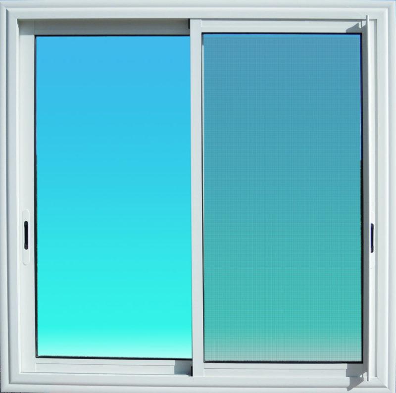 Fenêtre coulissante en aluminium laqué blanc 2 vantaux avec moustiquaire et verre clair MG ALUMINIUM