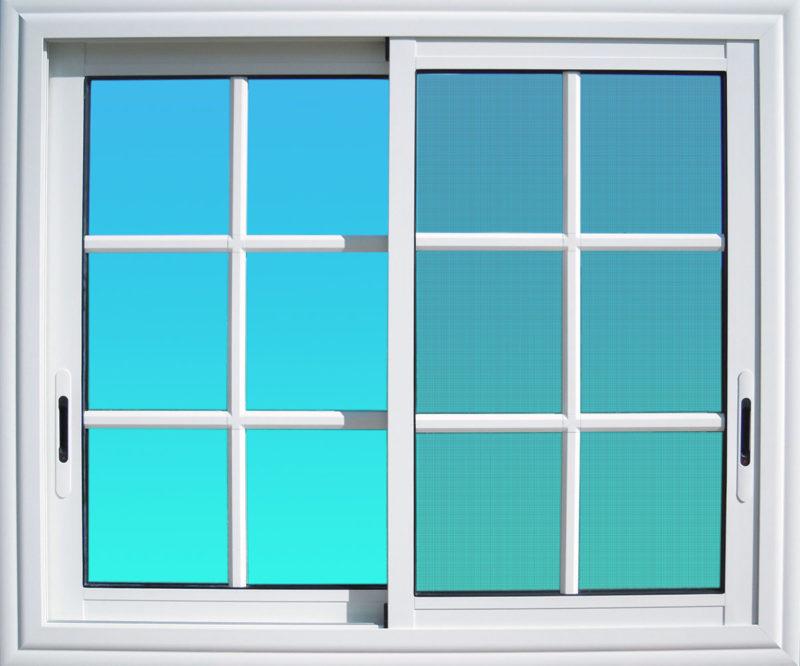 Fenêtre coulissante CF22 en aluminium laqué blanc avec petit bois, moustiquaire et verre clair MG ALUMINIUM