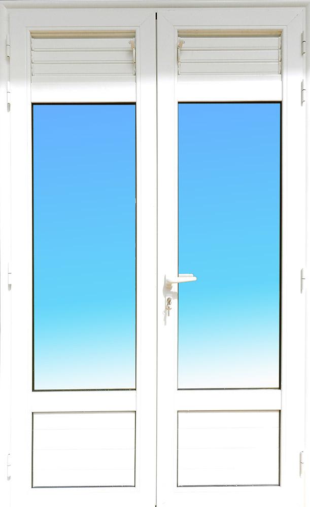 Porte PE24 aluminium lames ventilantes et allèges pleines MG ALUMINIUM