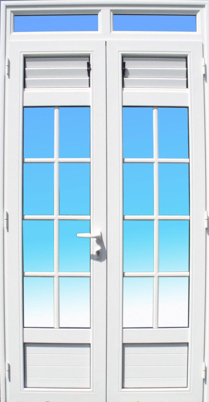 Porte 2 vantaux petit bois et lames ventilantes MG ALUMINIUM