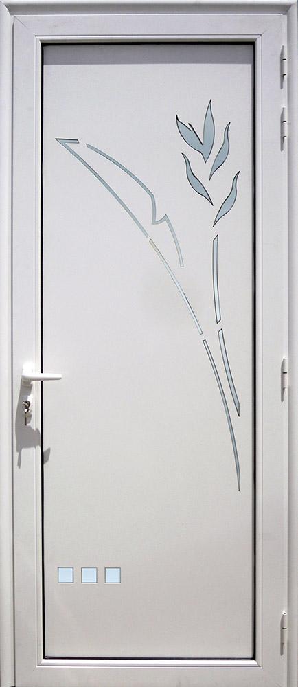 Porte d'entrée décor Balisier en aluminium et verre opale MG ALUMINIUM