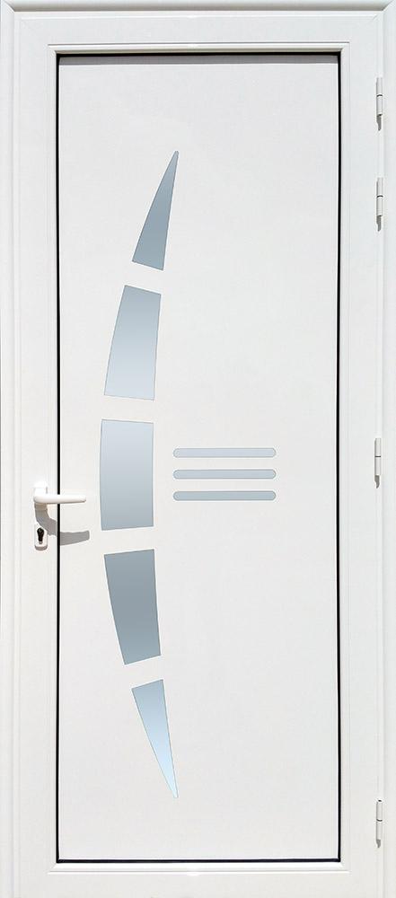 Porte d'entrée décor Virgin en aluminium et verre opale MG ALUMINIUM