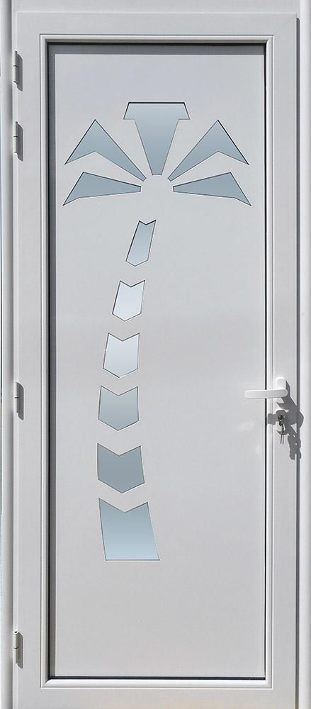 Porte d'entrée décor Cocotier en aluminium et verre opale MG ALUMINIUM