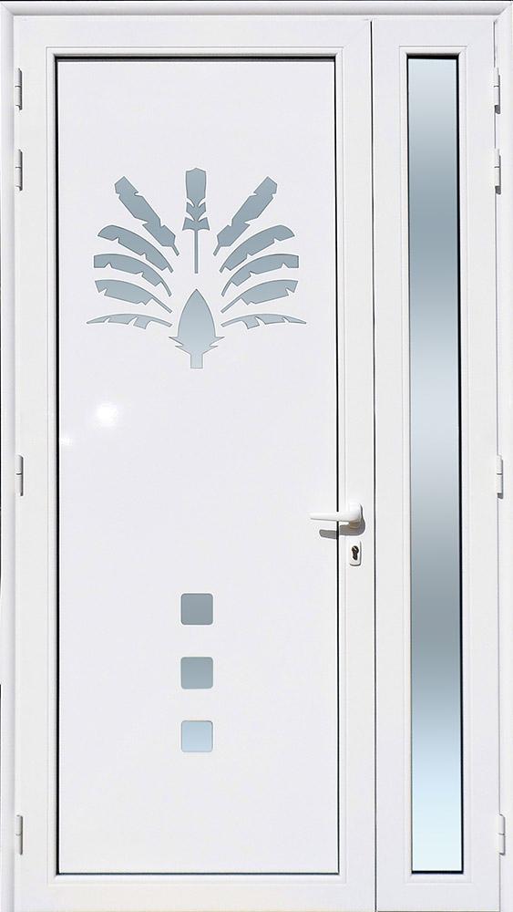 Porte d'entrée décor Arbre du Voyageur en aluminium et verre opale MG ALUMINIUM