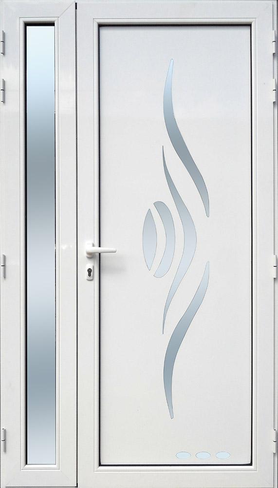 Porte d'entrée décor Sanza en aluminium et verre opale MG ALUMINIUM