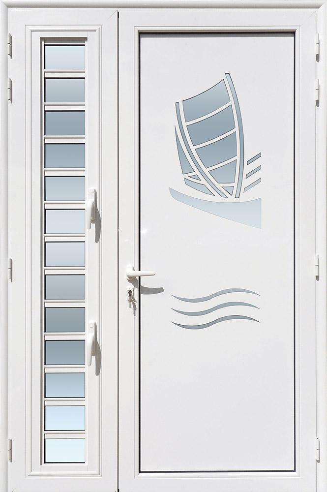Porte d'entrée décor Yole avec jalousie en aluminium et verre opale MG ALUMINIUM