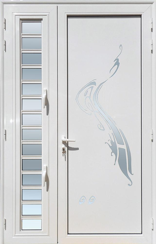 Porte d'entrée décor Volute avec jalousie en aluminium et verre opale MG ALUMINIUM