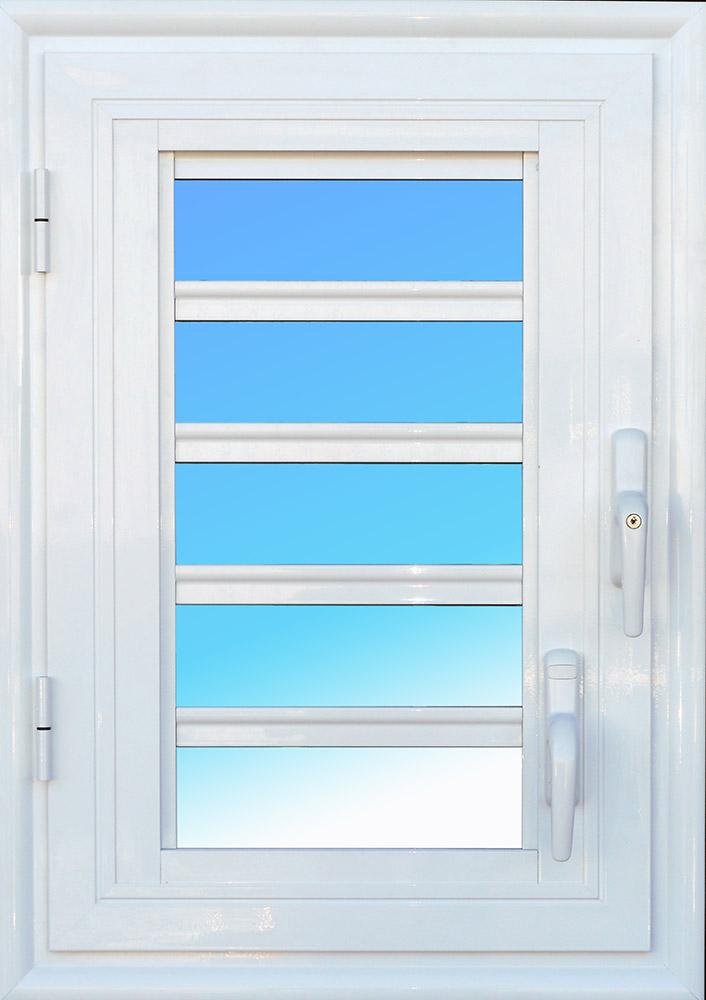 Fenêtre ouvrante OF15, 1 vantail aluminium avec jalousie lames de verre MG ALUMINIUM