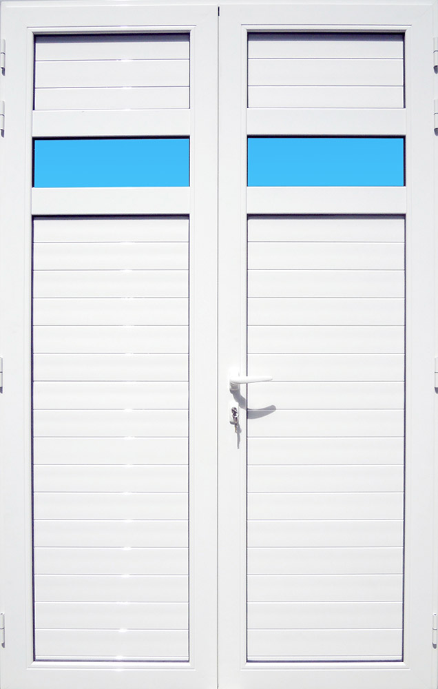 Volet battant en aluminium laqué blanc 2 vantaux avec lames ventilantes, bandes vitrées et serrure de sécurité 3 points MG ALUMINIUM