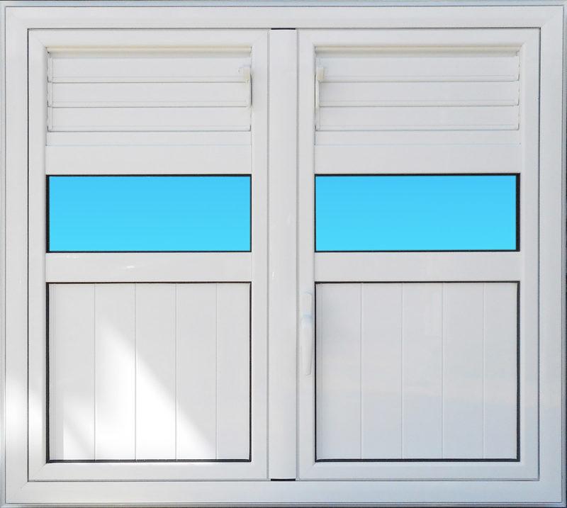 Volet battant en aluminium laqué blanc 2 vantaux munies de lames ventilantes et de bandes vitréesMG ALUMINIUM