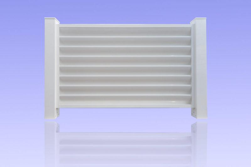 Clôture brise vue en aluminium laqué blanc avec poteaux de 100 x 100 mm MG ALUMINIUM