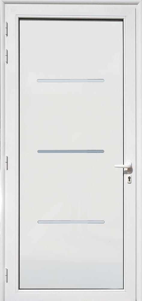 Porte d'entrée décor Linea en aluminium et verre opale MG ALUMINIUM