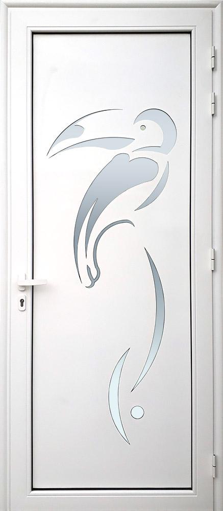 Porte d'entrée décor Toucan en aluminium et verre opale MG ALUMINIUM
