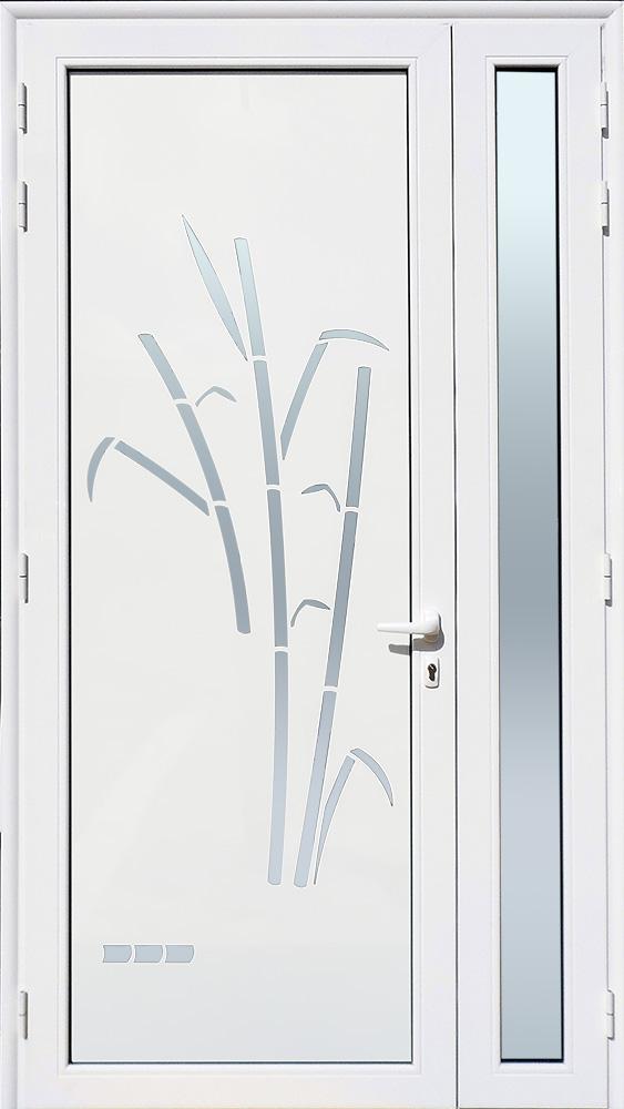 Porte d'entrée décor Cannes en aluminium et verre opale MG ALUMINIUM