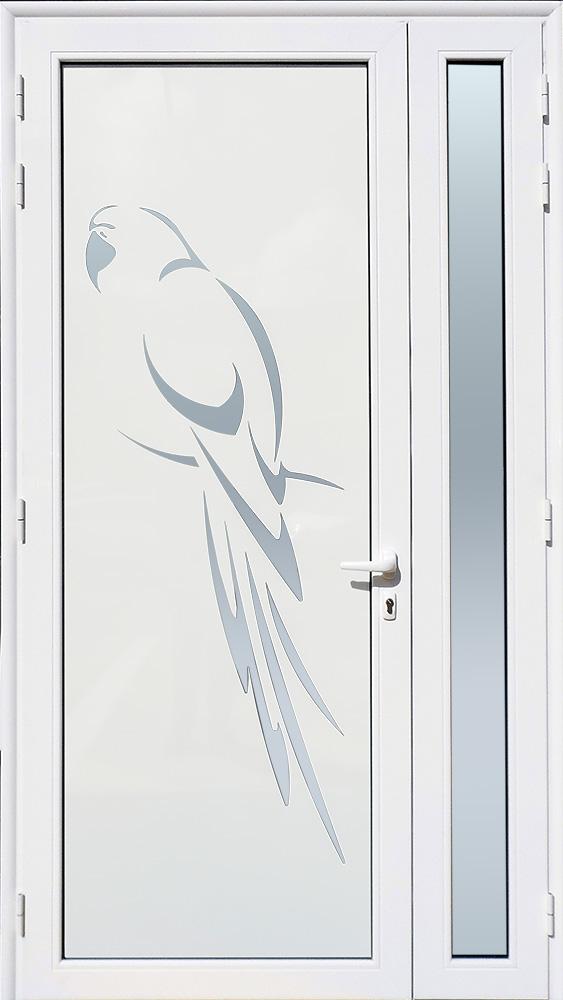 Porte d'entrée décor Perroquet en aluminium et verre opale MG ALUMINIUM