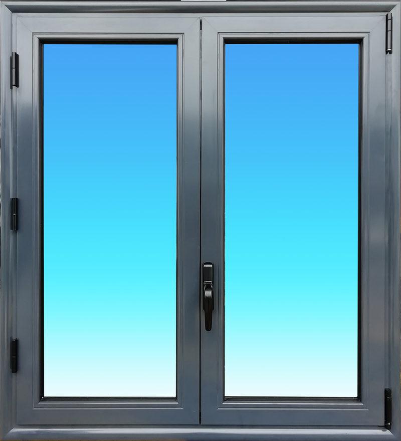 Fenêtre oscillo battante OB21 en aluminium laqué anthracite de la gamme Vision à 2 vantaux MG ALUMINIUM