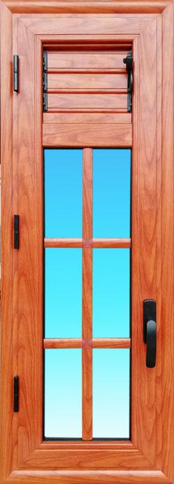 Fenetre petit bois en aluminium finition bois avec lames ventilantes gamme Cayenne MG ALUMINIUM