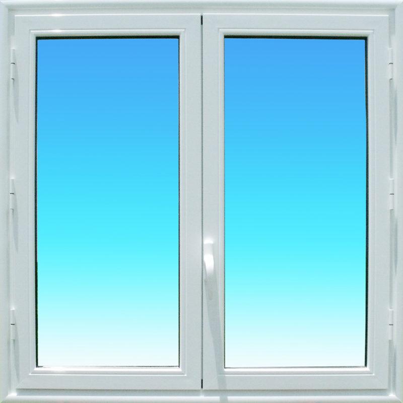 Fenêtre ouvrante à la Française OF21 en aluminium laqué blanc de la gamme Vision à 2 vantaux MG ALUMINIUM