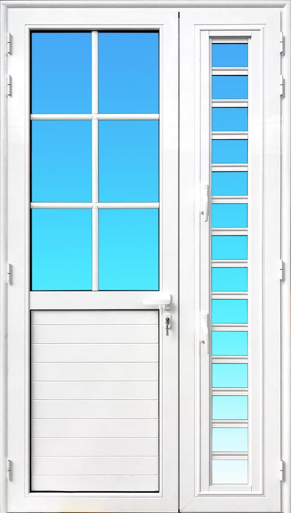 Porte PE22S 2 vantaux aluminium de la Gamme Cayenne avec colonne et jalousie MG ALUMINIUM