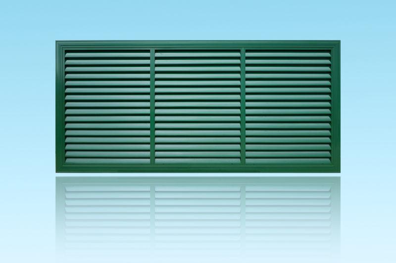 Portail Zéphyr brise vue coulissant en aluminium laqué vert MG ALUMINIUM