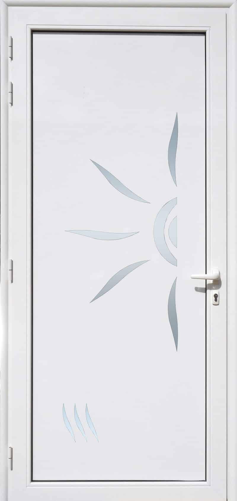 Porte Décor PS11-SOLEIL en aluminium laqué blanc et verre opale MG ALUMINIUM