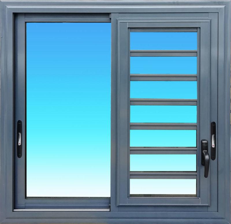 Fenêtre coulissante en aluminium laqué anthracite 2 vantaux avec jalousie et verre clair MG ALUMINIUM.