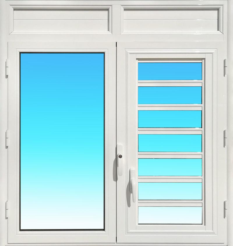 Fenêtre ouvrante à la Française OF25 en aluminium laqué blanc de la gamme Vision à 2 vantaux.
