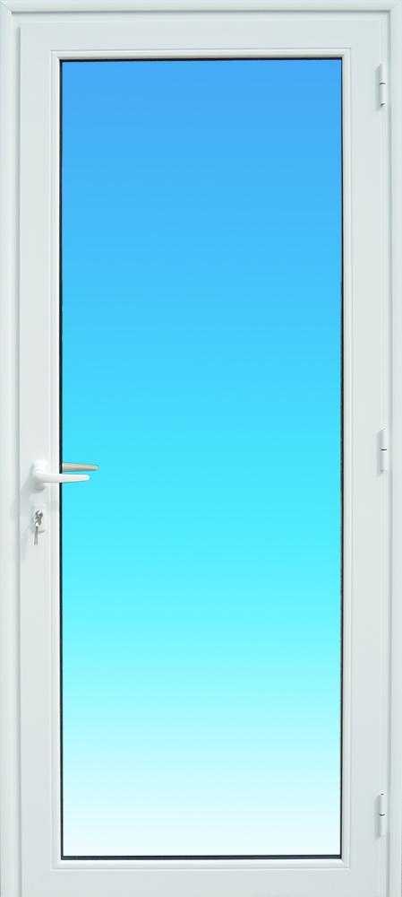 Porte PE11 en aluminium laqué blanc 1 vantail vitrage clair MG ALUMINIUM.