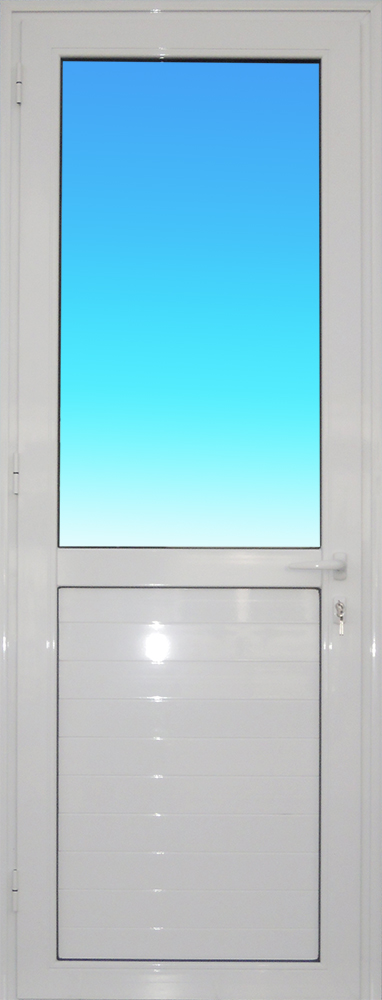 Porte PE12 en aluminium laqué blanc 1 vantail vitrage clair et allège MG ALUMINIUM.