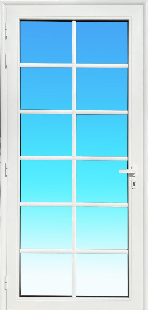 Porte PE13 en aluminium laqué blanc avec petits bois verre clair et serrure de sécurité 3 points MG ALUMINIUM.