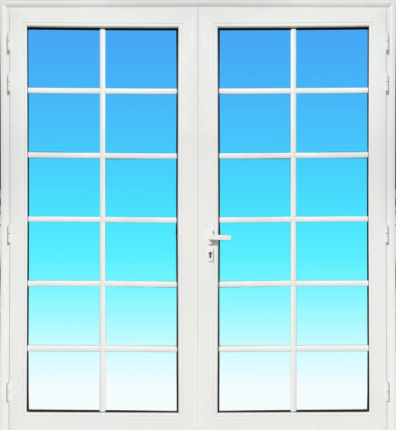 Porte 2 vantaux PE23 avec petits bois, verre clair 8 mm et serrure de sécurité 3 points MG ALUMINIUM.