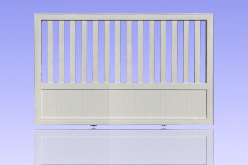 Portail barreaudé coulissant en aluminium laqué blanc MG ALUMINIUM
